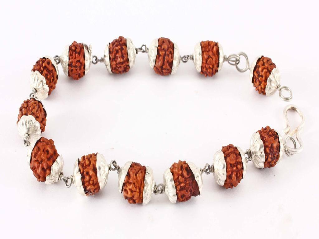 ITEM 75, Silver Capped Rudraksh Bracelet
